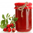 Jar with hip roses jam and ripe berries, isolated on white — Stock Photo