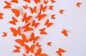 Paper butterflies fly on wall in different directions — Stock Photo