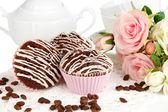Sweet chocolate cupcakes close up — Stock Photo