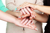 Group of young 's hands, close up — Stock Photo