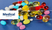 Assortiment de pilules, comprimés et gélules sur fond bleu — Photo