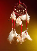 Beautiful dream catcher on color background — Zdjęcie stockowe