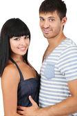Lindo casal apaixonado junto isolado no branco — Foto Stock