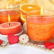 Romantic lighted candles close up — Stock Photo #27834335