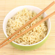 Asian noodles in bowl on bamboo mat — Stock Photo #27836035