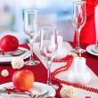 Beautiful holiday table setting with apples, close up — Stock Photo #27839465