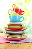 Mountain colorful dishes on napkin on nature background — Stock Photo