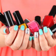 Woman hands with nail polishes, close-up — Stock Photo