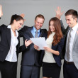 Business team on grey background — Stock Photo