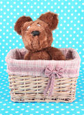 Beautiful basket with toy bear on a blue background — Stock Photo