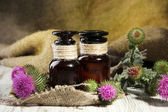 Medicine bottles with thistle flowers — Stock Photo