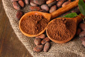 Cocoa powder in spoons and cocoa beans on wooden background — Stock Photo