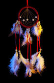 Beautiful dream catcher on black background — Zdjęcie stockowe