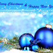 Christmas decoration on blue background — Stock Photo #27892991