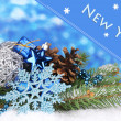 Christmas decoration on blue background — Stock Photo #27893019