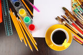 Workplace of artist close-up — Stock Photo