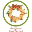 Christmas wreath of dried lemons with fir tree and bow isolated on white — Foto de Stock   #27961669