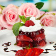 Tasty jelly dessert with fresh berries, on bright background — Lizenzfreies Foto