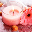 Beautiful pink candle with flower in water — Stock Photo #27965569