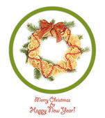 Christmas wreath of dried lemons with fir tree and bow isolated on white — Foto de Stock