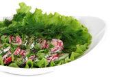 Ensalada de verduras vitamina en placa aislada en blanco — Foto de Stock
