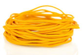 Yellow rubber bands isolated on white — Stock Photo