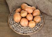 Potato on wooden table — Stock Photo