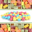 Collage of colorful candies — Stock Photo