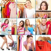 Colagem de fotos com os compradores de fêmeas jovens — Foto Stock