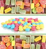 Collage av färgglada godis — Stockfoto