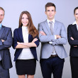 Business team standing in row on grey background — Stock fotografie