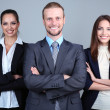 Business team standing in row on grey background — Stock Photo #28072331