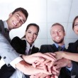 Stock Photo: Business team working together in office close up