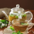 Cup and teapot of herbal tea with fresh mint flowers on wooden table — Stock Photo #28074417