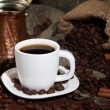Stock Photo: Metal turk and coffee cup closeup