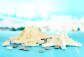 White starfishes on blue wooden table on sea background — Stock Photo