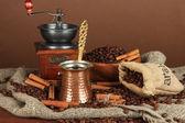 Coffee maker on dark background — Stock Photo