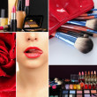 Stock Photo: Collage of cosmetics for professional make-up