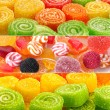 Collage of colorful candies — Stok fotoğraf