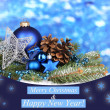 Christmas decoration on blue background — Stock Photo #28086871