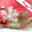 Christmas decoration on red background — Stock Photo #28086873