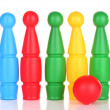 Colorful plastic skittles of toy bowling isolated on white — Stock Photo #28087675