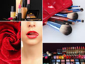 Collage of cosmetics for professional make-up — Stock Photo