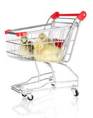 Little ducklings in trolley isolated on white — Стоковое фото