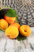 Apricots in bucket on wooden table near wicker coasters — Stock Photo