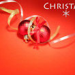 Beautiful bright Christmas balls on red background — Stock Photo #28096197