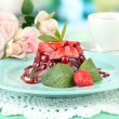 Tasty jelly dessert with fresh berries, on bright background — Stock Photo #28099673