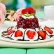 Tasty jelly dessert with fresh berries, on bright background — Foto de Stock