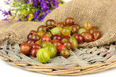 Fresh gooseberries on wicker mat close-up — Stock Photo