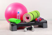 Different tools for fitness in room — Zdjęcie stockowe
